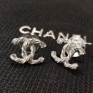 CHANEL CC Sparkling Silver Tone Earrings
