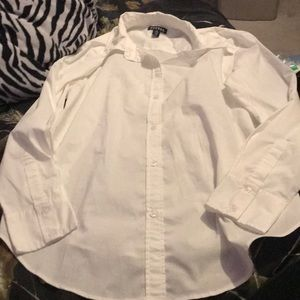 George White Button Up Blouse