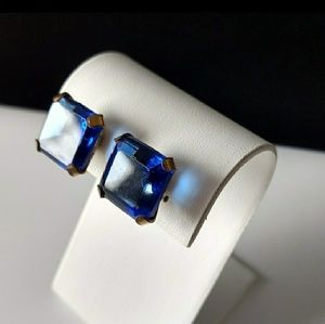 Vtg. Beautiful Sapphire Rhinestone Earrings