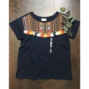 LOFT Lounge NWT Embroidered  Aztec Tassle Top