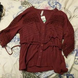 Maroon lace trim blouse
