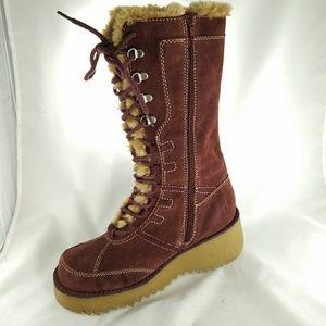 Report Deep Red Suede Faux Fur Platform Boots