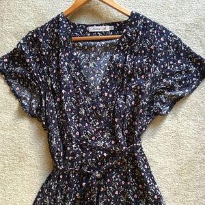 1X Modcloth Sunnygirl Navy w/Floral Dress w/Tie
