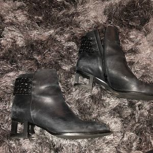 Black leather booties
