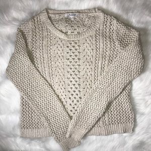 Madewell cropped pullover crochet cream sweater