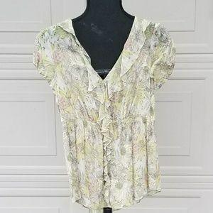 Anthropolgie silk floral blouse