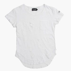 NWT - Men's White Distressed Extended Tee