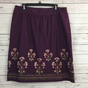 Talbots Purple Floral Embroidered Skirt Sz 14 NWT