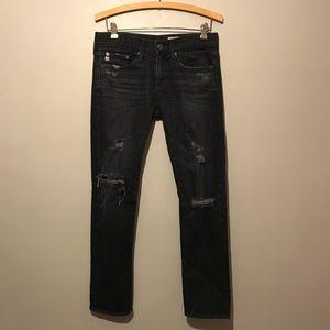 AG Piper Crop Slouchy Slim Black Wash Jeans