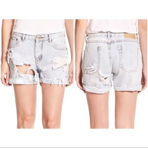 Charger Distressed Denim Shorts