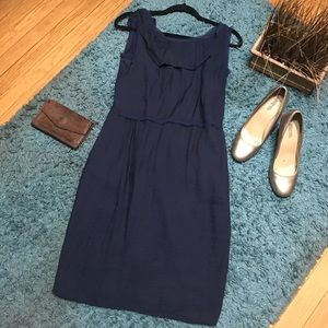 💟SIMPLY VERA Navy Blue Midi Dress Zippered