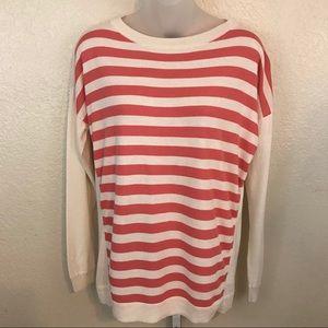 Talbots Cream/Coral Striped Sweater Size M