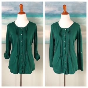 L. L. Bean Green SUPIMA Cotton Long Sleeve Tee Top