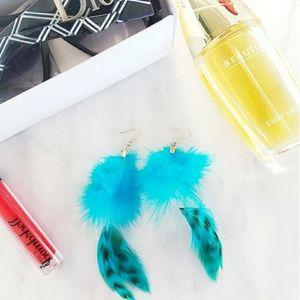 Jewelry - Blue Silver Dangle Feather Festival Boho Earrings