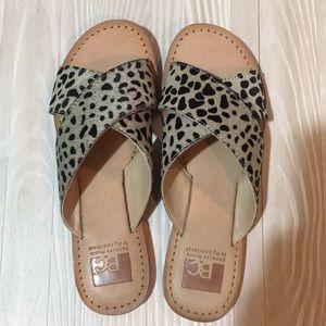 dear pony hair cheetah sandals