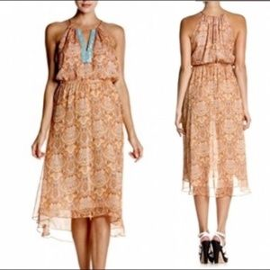 Miss Me MM Couture Dress Paisley Peach Blue Sheer