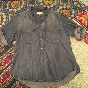 Anthropologie Cloth & Stone Chambray Henley