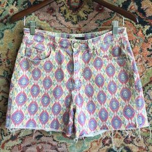 UO BDG High Rise Diamond Ikat Pattern Jean Shorts