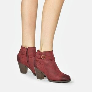 JustFab Freda Bootie in Burgundy Ankle Boots