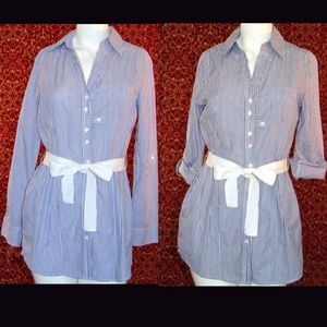 APT. 9 blue striped cotton tapered shirt blouse M