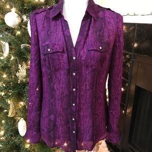 White House Black Market Purple Blouse