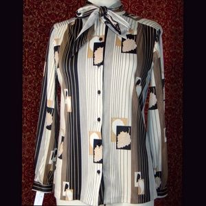 Vintage 70's black cream striped blouse S
