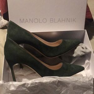 Green Suede Manolo Blahnik BB 105