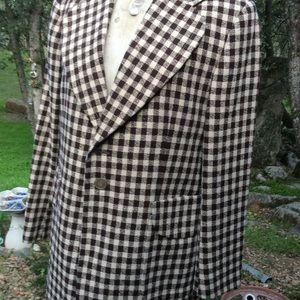 "Men's Sport Coat Brown 1950 38 Tall W. Germany 18"""