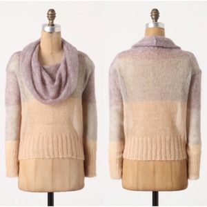 Anthro Color Block Striped Cowl Neck Sweater