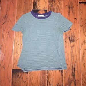 green and navy crop top