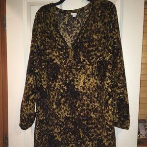 Cheetah Print Long Sleeve Dress