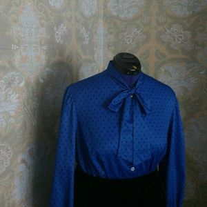 1980's Tie Front Blue/Black Polka Dot Blouse- 2x