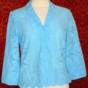 TALBOTS eyelet 3/4 sleeve blouse jacket 8