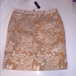 Talbots gold brocade skirt new nwt 14 straight
