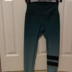 Alo ombré teal w black stripe leggings sz xs 56331