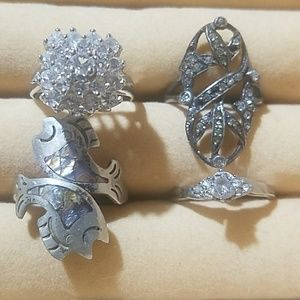 Lot of 4 various rings as shown STERLING SILVER