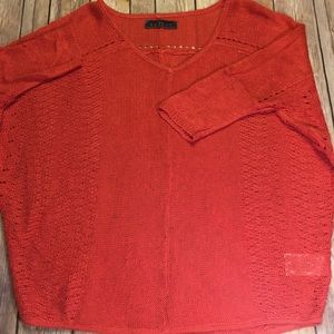 Velvet for Anthropologie red knit Vneck sweater