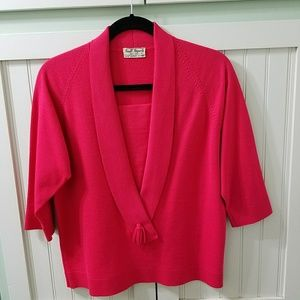 Vintage 1950s- 60s wool coral red Italian sweater