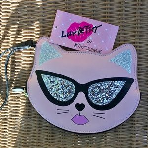 Betsey Johnson cat 🐱 in sunglasses small purse.