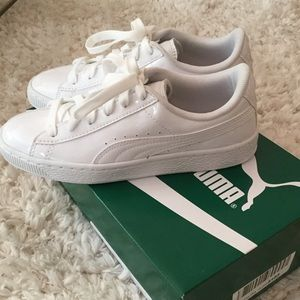 Puma Basket Classic White Patent Sneakers, size 5