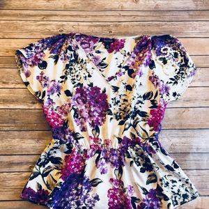V neck dressy work career floral blouse