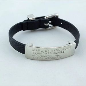 Marc Jacobs Silver on Black Faux Leather Bracelet.