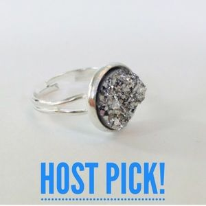 🎉HP! 💍Silver textured druzy adjustable ring