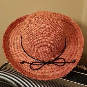 NWOT-LAURA ASHLEY ORANGE SUN HAT W/BRWN ACCENT TIE