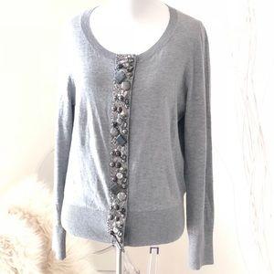 Talbots Gray Embellished Sweater Cardigan