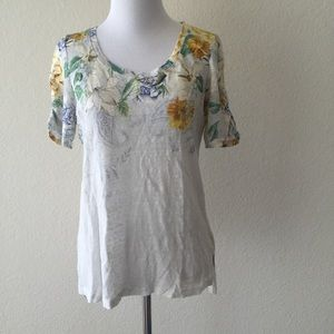 Anthro Meadow rue beach blossom floral linen top S