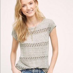 Anthropologie Akemi Kin Lattice Lace Stripe Top XS