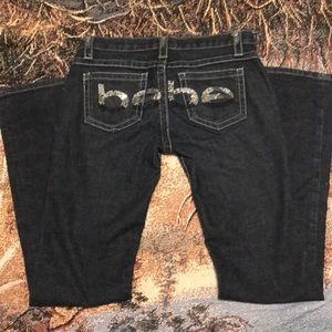 Bebe Jeans Denim rhinestones logo