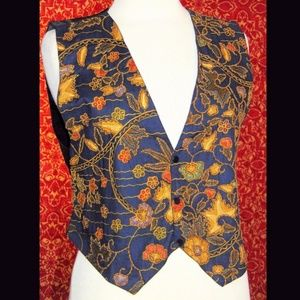 Navy ethnic print floral beaded vest M