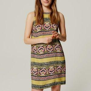 LOFT Yellow bloom stripe shift dress